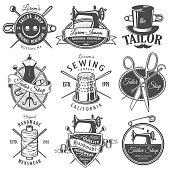 Set of vintage monochrome tailor emblems