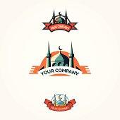 Set of vintage mosque badges