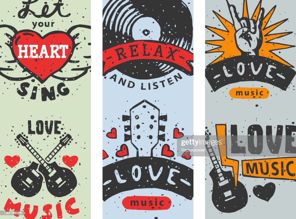 Set of vintage musical cards hand drawn templates love musical elements for design vector illustration