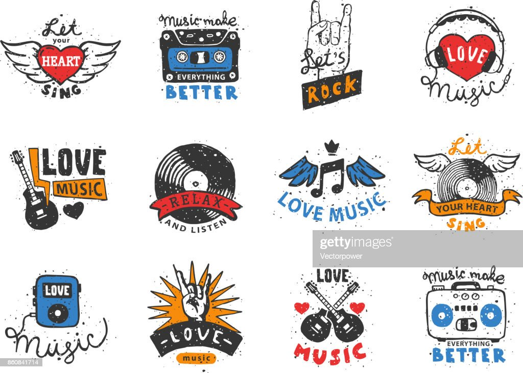 Set of vintage musical labels hand drawn templates love musical elements for design vector illustration