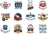 Set of vintage musical labels hand drawn templates love musical elements for design vector illustration