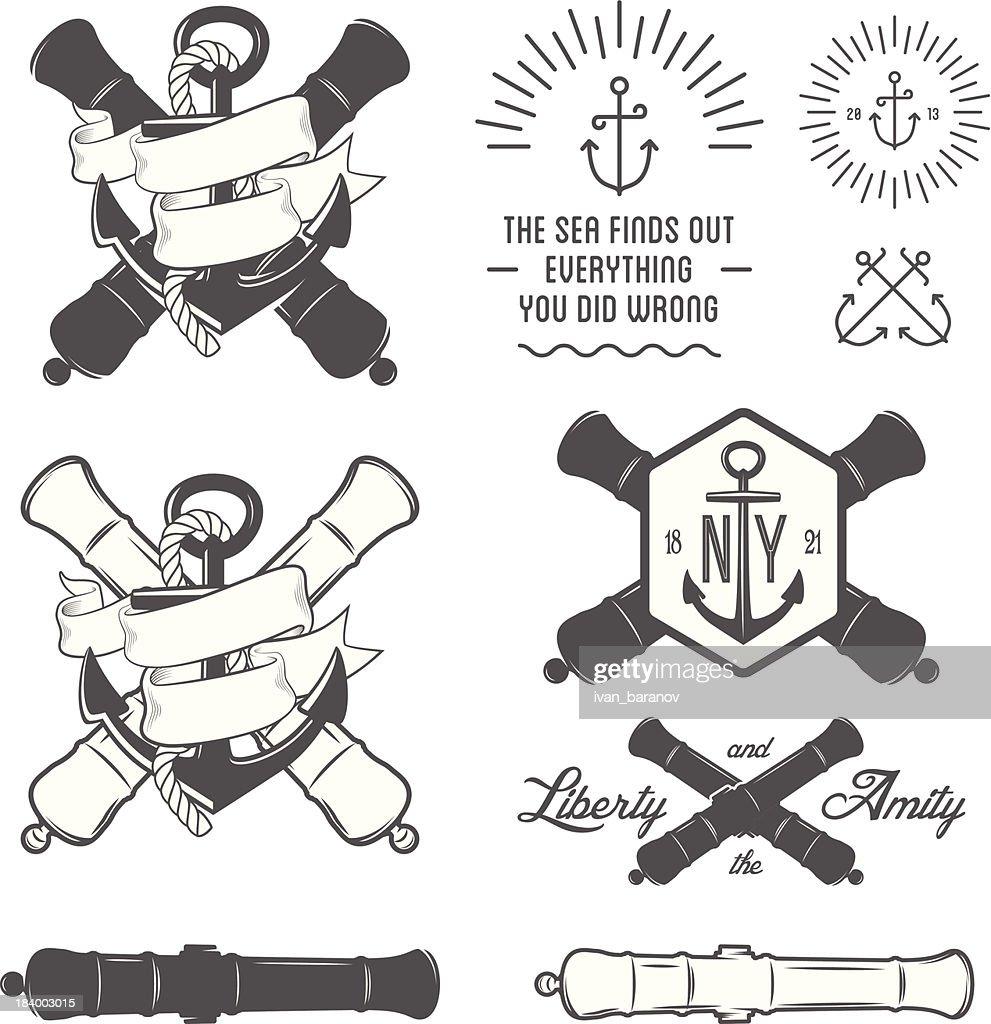 Set of vintage nautical labels