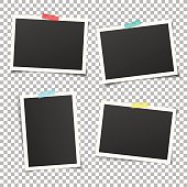 Set of vintage photo frames with adhesive tape. Vector mockup.