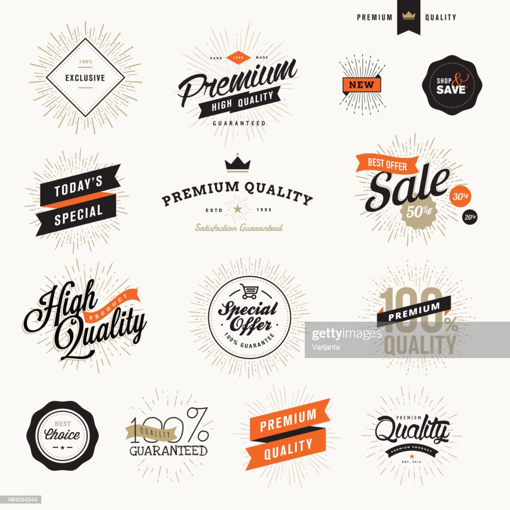 Set of vintage premium quality labels and badges