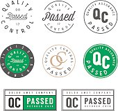 Set of vintage quality control passed stamps and stickers