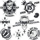 Set of vintage rap emblems, labels and design elements.