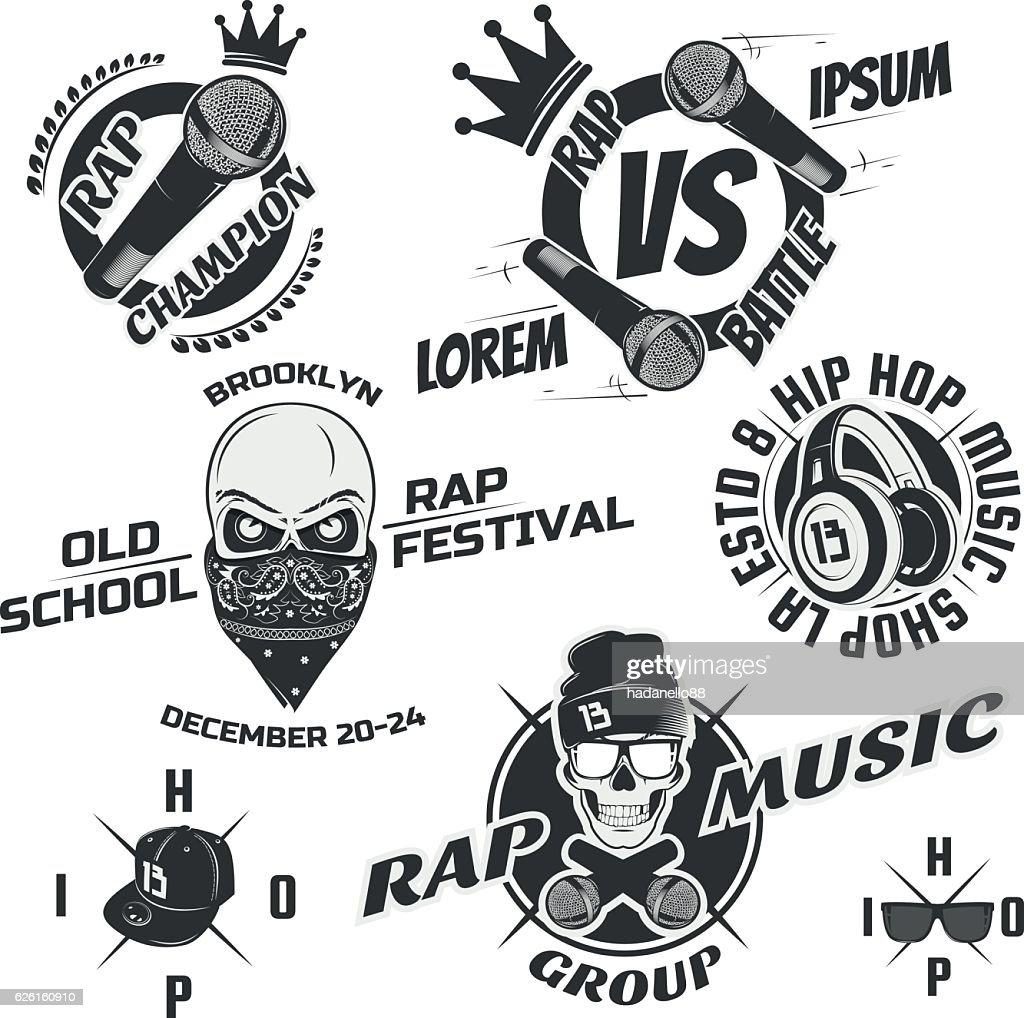 Set of vintage rap emblems, labels and design elements