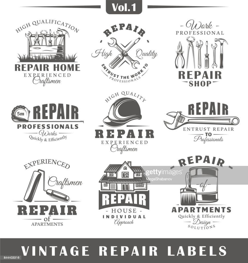 Set of vintage repair labels. Vol.1.