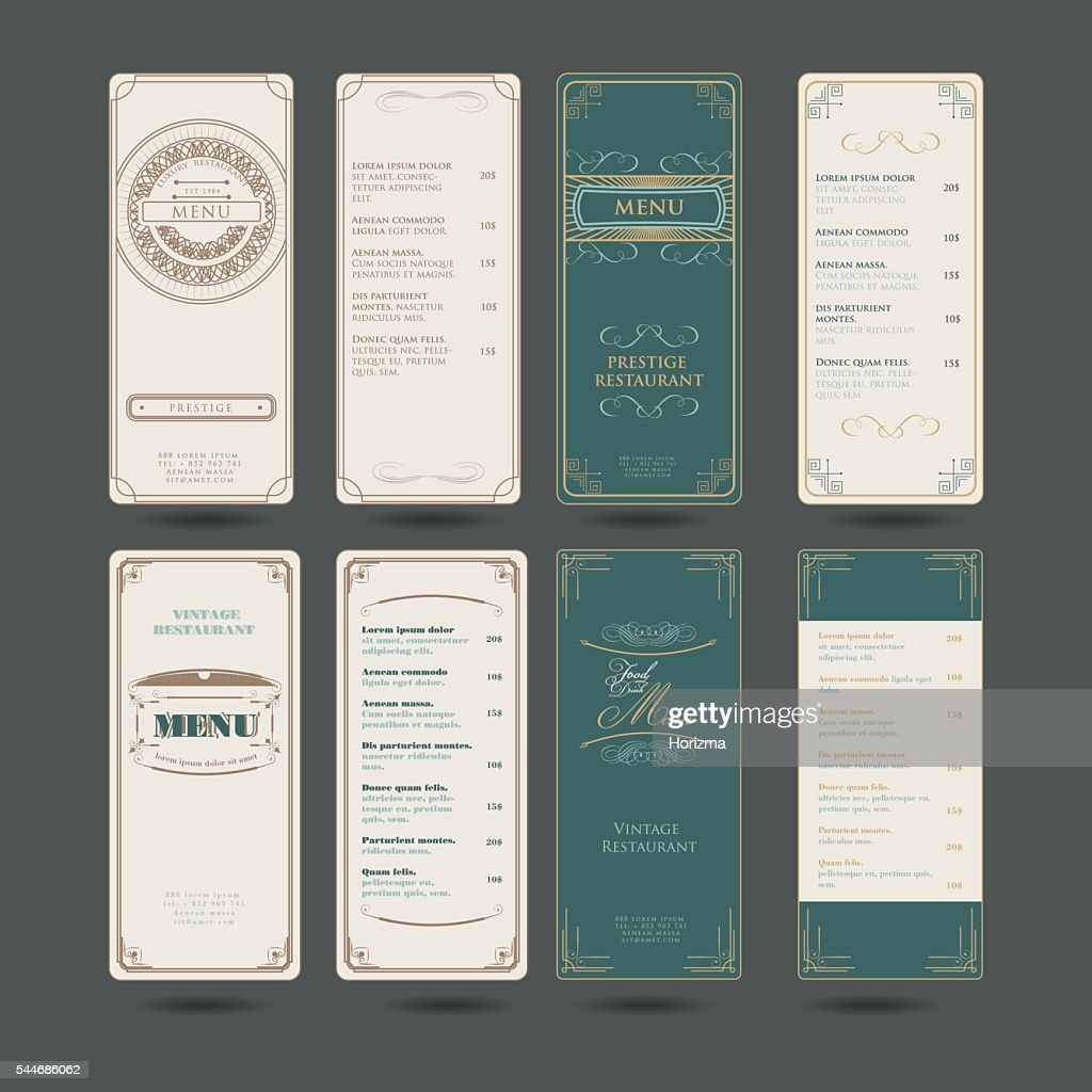 Set Of Vintage Restaurant Menu Design Template