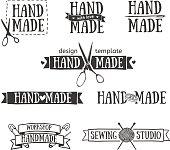 Set of vintage retro handmade logo elements.