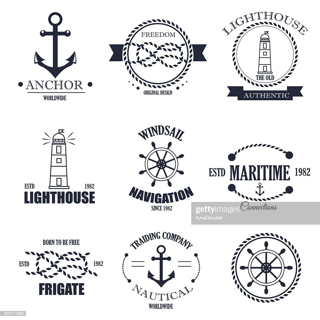 Set of vintage retro nautical badges and vector labels.