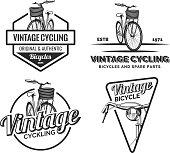 Set of vintage road bicycle labels.