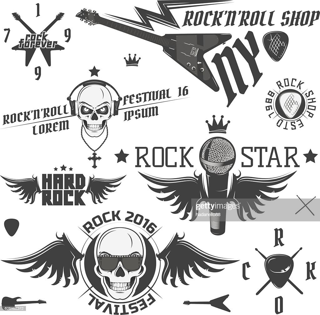 Set of vintage rock and roll design elements for emblems