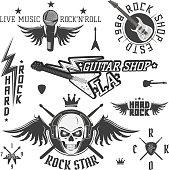 Set of vintage rock and roll design elements for emblems