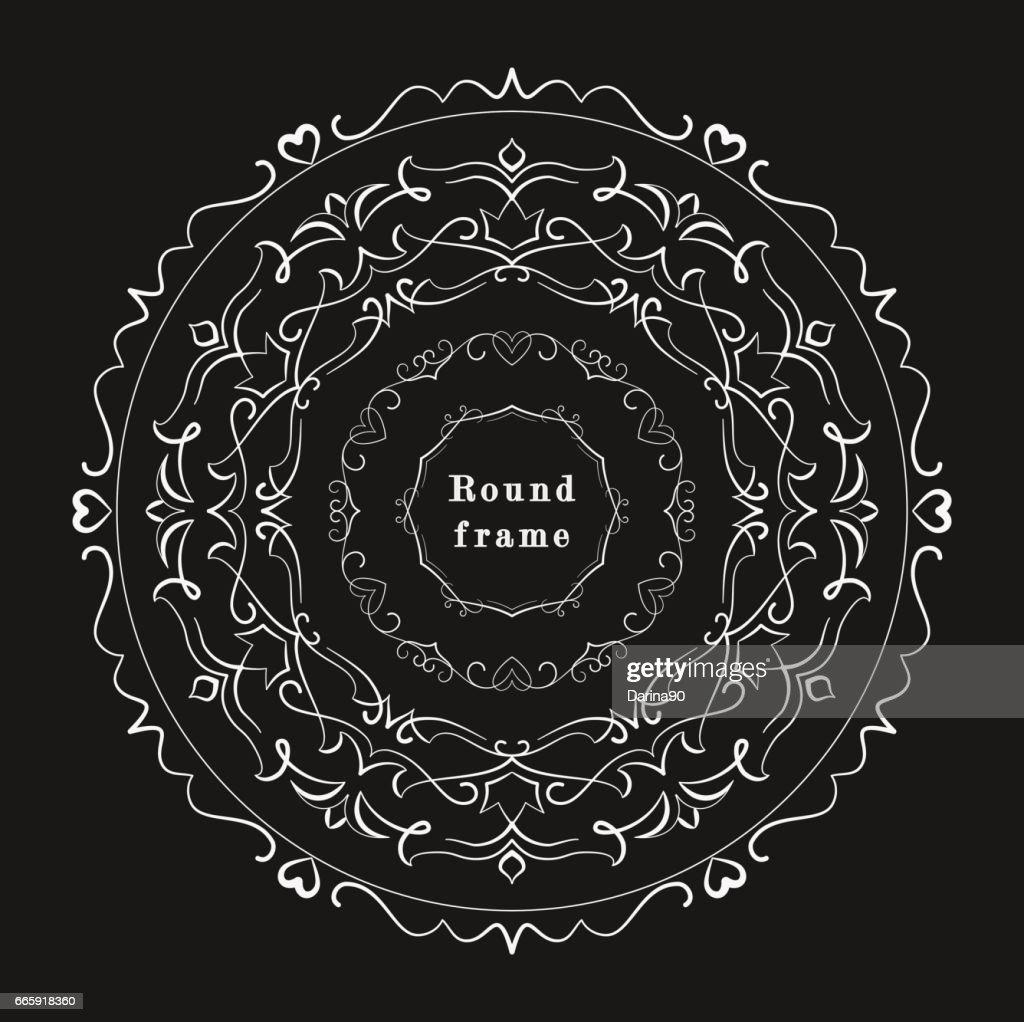 set of vintage round frames. vector illustration