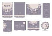 Set of Vintage Round Lace Wedding Invitation Card.