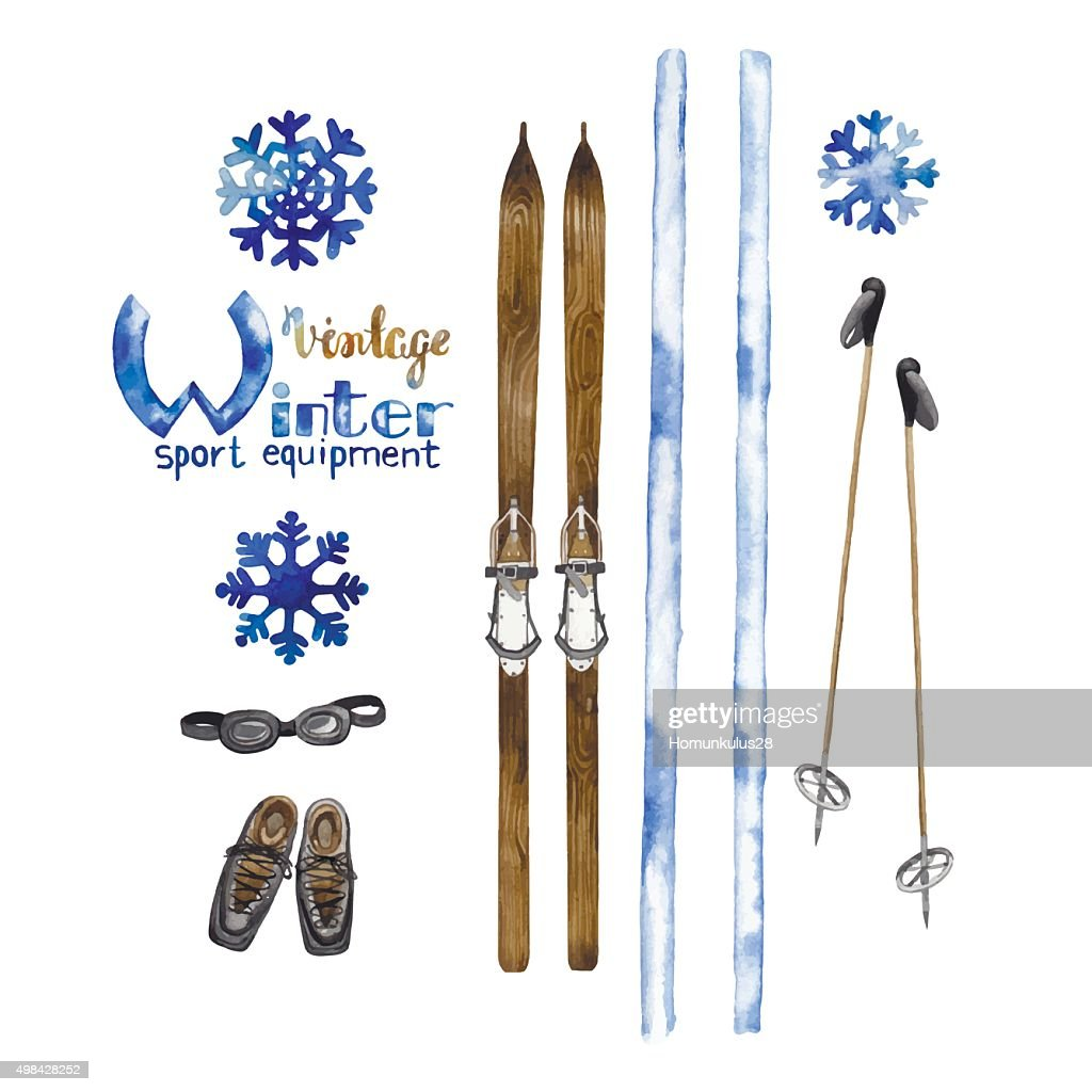 Set of vintage ski equipment