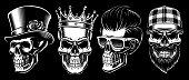 Set of Vintage Skulls.
