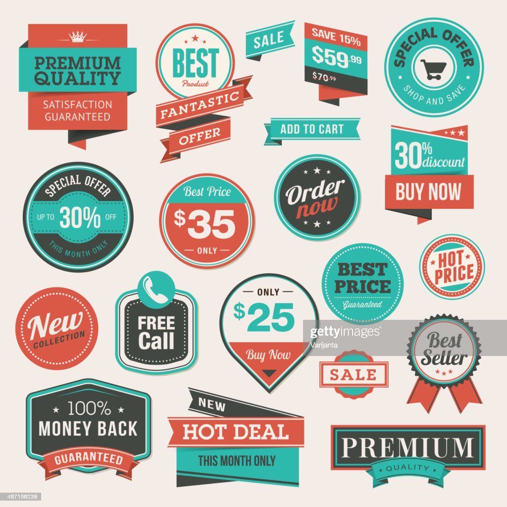 Set of vintage style badges and stickers