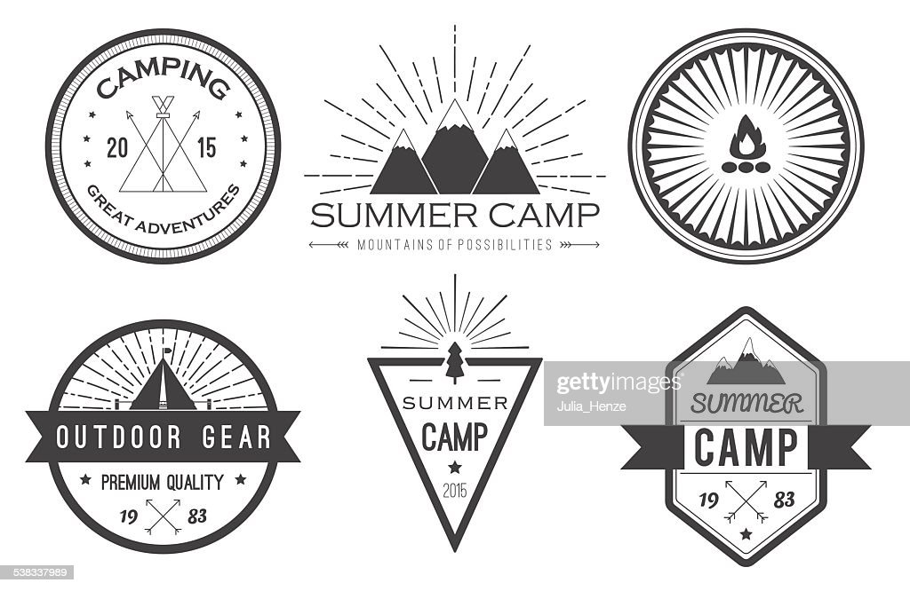 Set of vintage summer camp badges and logos