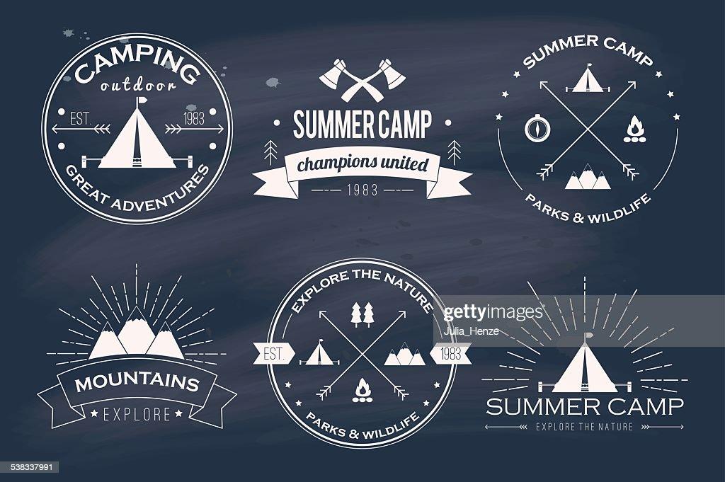 Set of vintage summer camp badges and logos