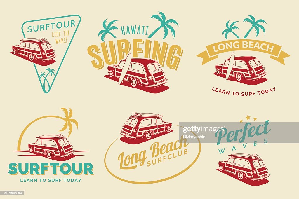Set of vintage surfing car labels