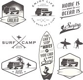 Set of vintage surfing labels and badges