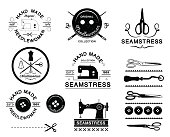 Set of vintage tailor labels, logo and designed elements.