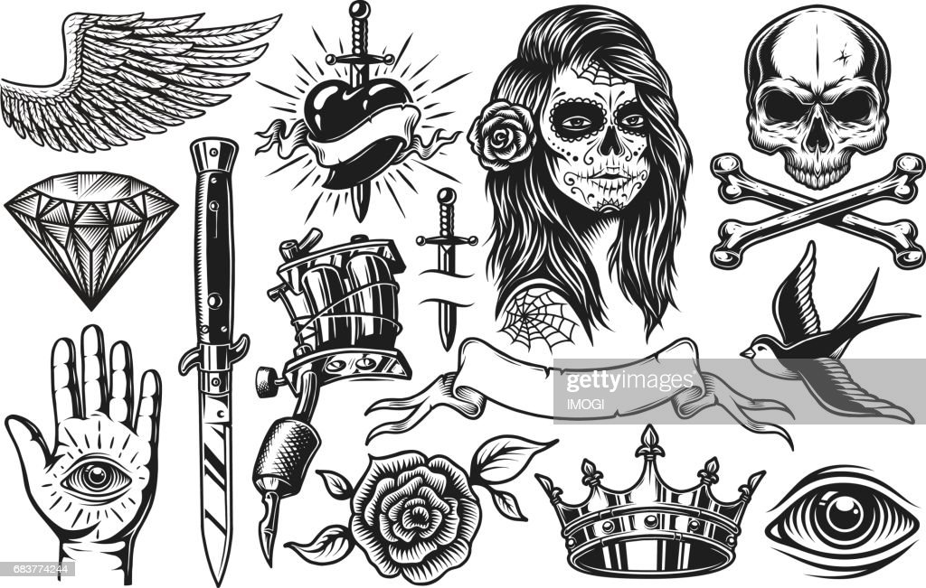 Set of vintage tattoo elements
