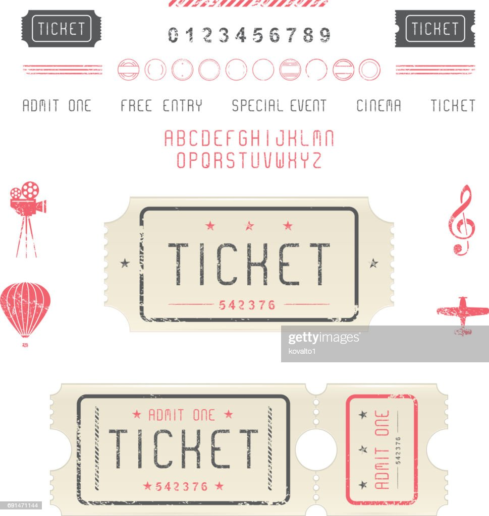 Set of vintage tickets, icons and symbols.