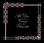 Set of vintage typographic document corner in gold art deco design, luxurious decorative elements for print, restaurant menus, leaflets, invitation, announcement