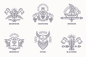 Set of vintage vector icon templates with ethnic elements in thin line style