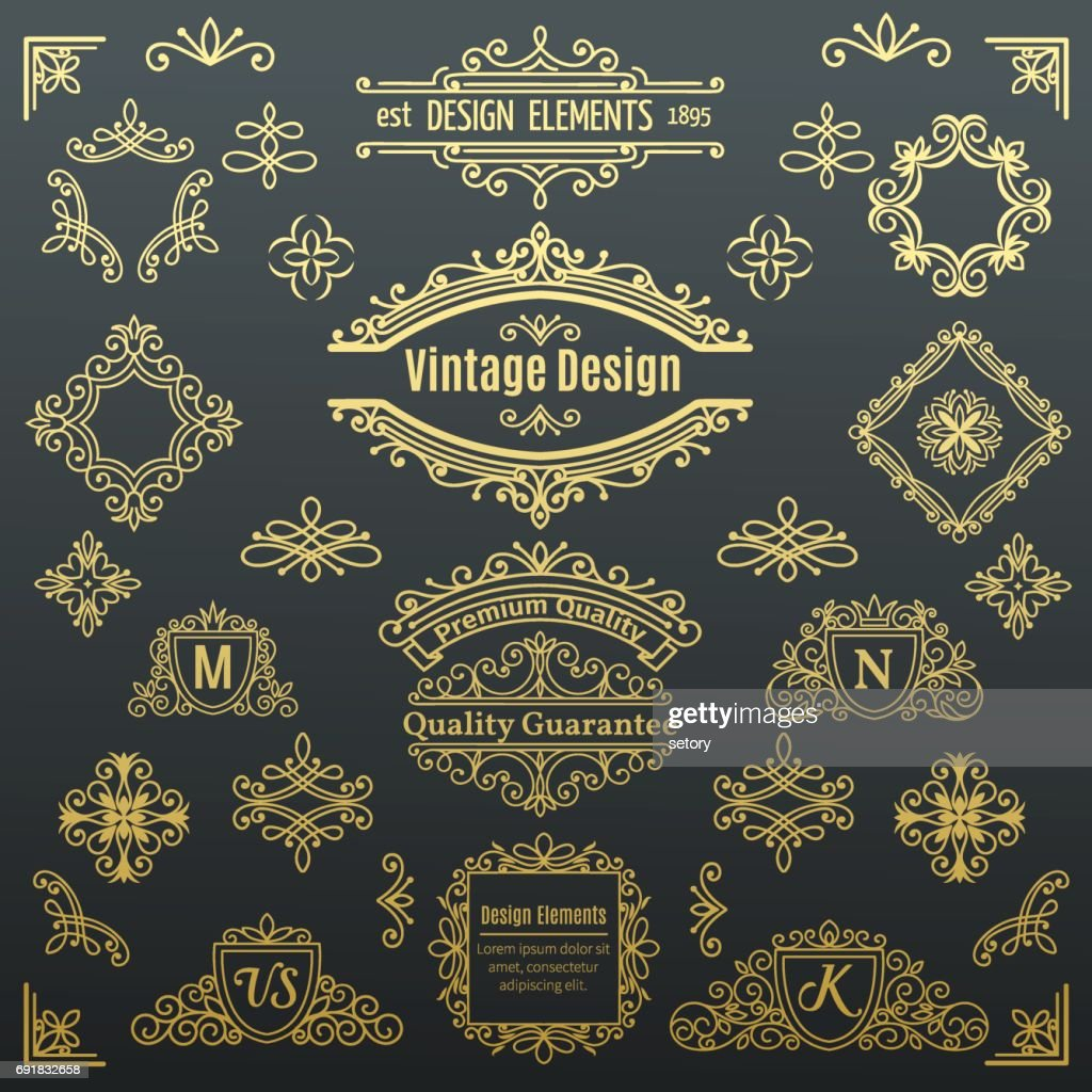 Set of vintage vector line elements