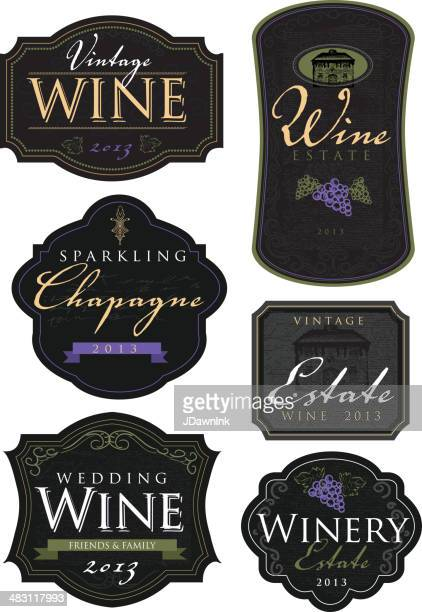 Set of vintage wine and champagne labels