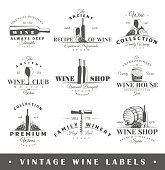 Set of vintage wine labels