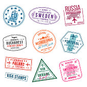 Set of visa stamps for passports. International and immigration office stamps. Arrival and departure visa stamps to Europe - Portugal, Poland, Russia, Netherlands etc.