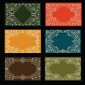 Set of visit card designs with linear ornate frames