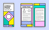 Set of Visual identity in Trendy New Fat Line Style Geometric Design in Retro Style with Fresh Old School Colours with Fictitious names and text