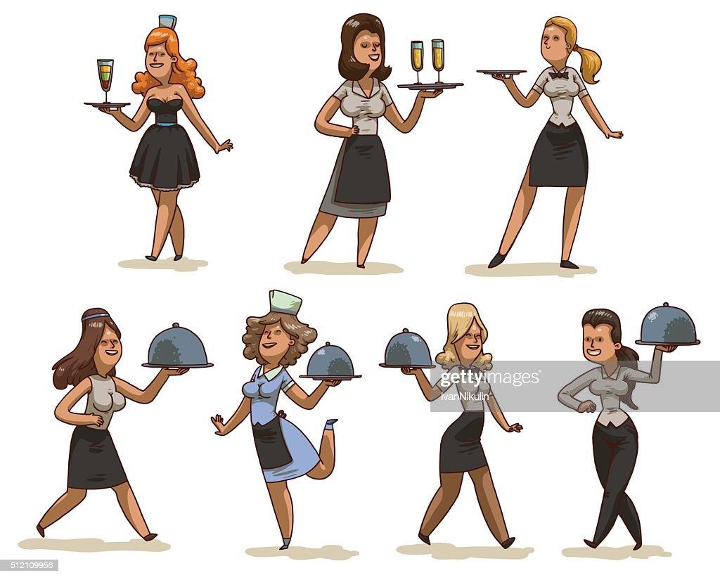 Set of waitresses