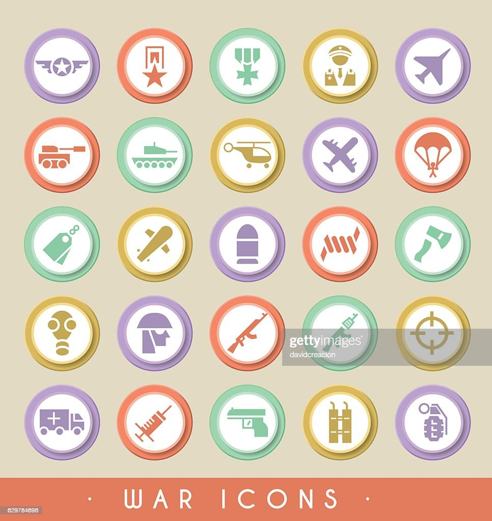 Set of War Icons on Circular Colored Buttons.