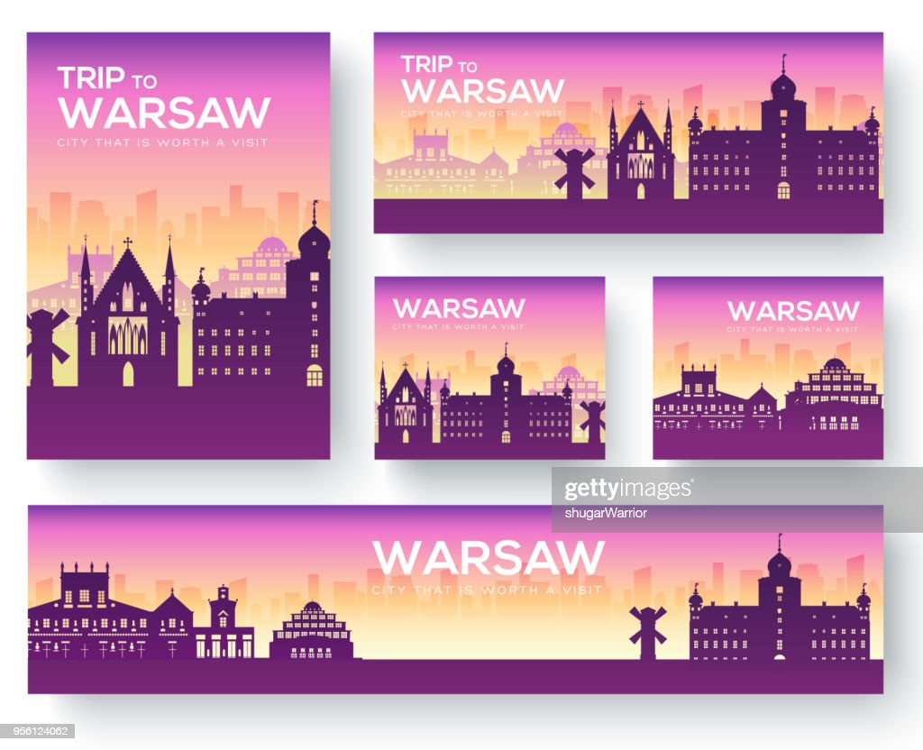 Set of Warsaw landscape country ornament travel tour concept. Culture Poland traditional, magazine, book, poster, abstract, element. Vector decorative ethnic greeting card or invitation background