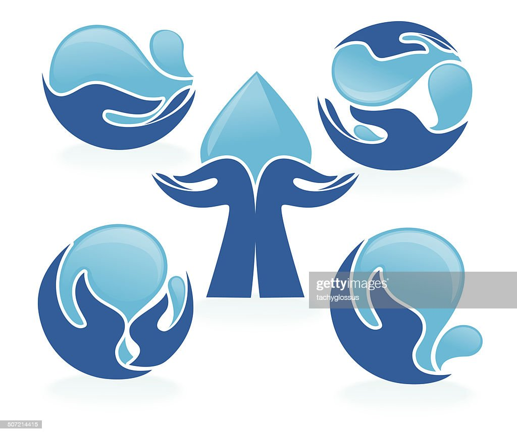 Set of water and hands design elements