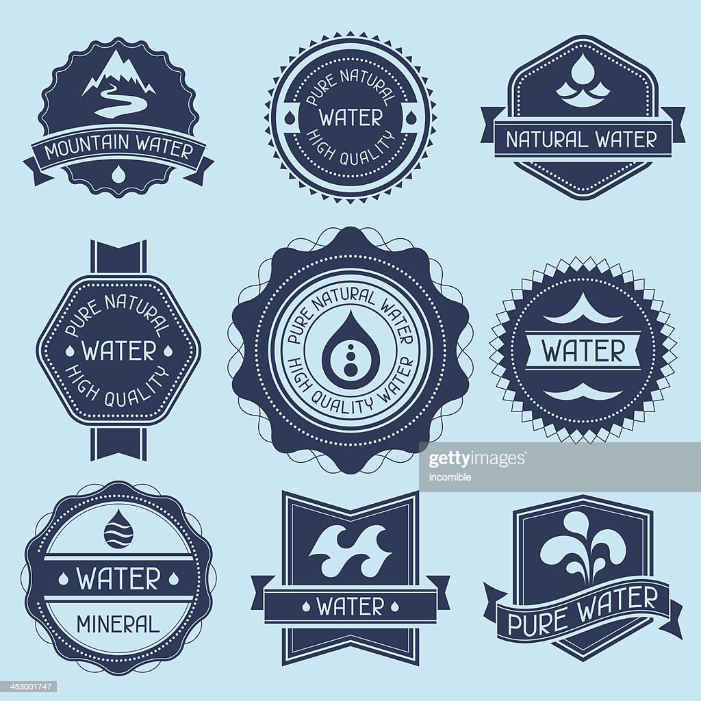 Set of water labels in different shades of blue