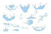 Set of water splash clipart, water drops and crown from falling into the water, isolated vector illustration for effects design