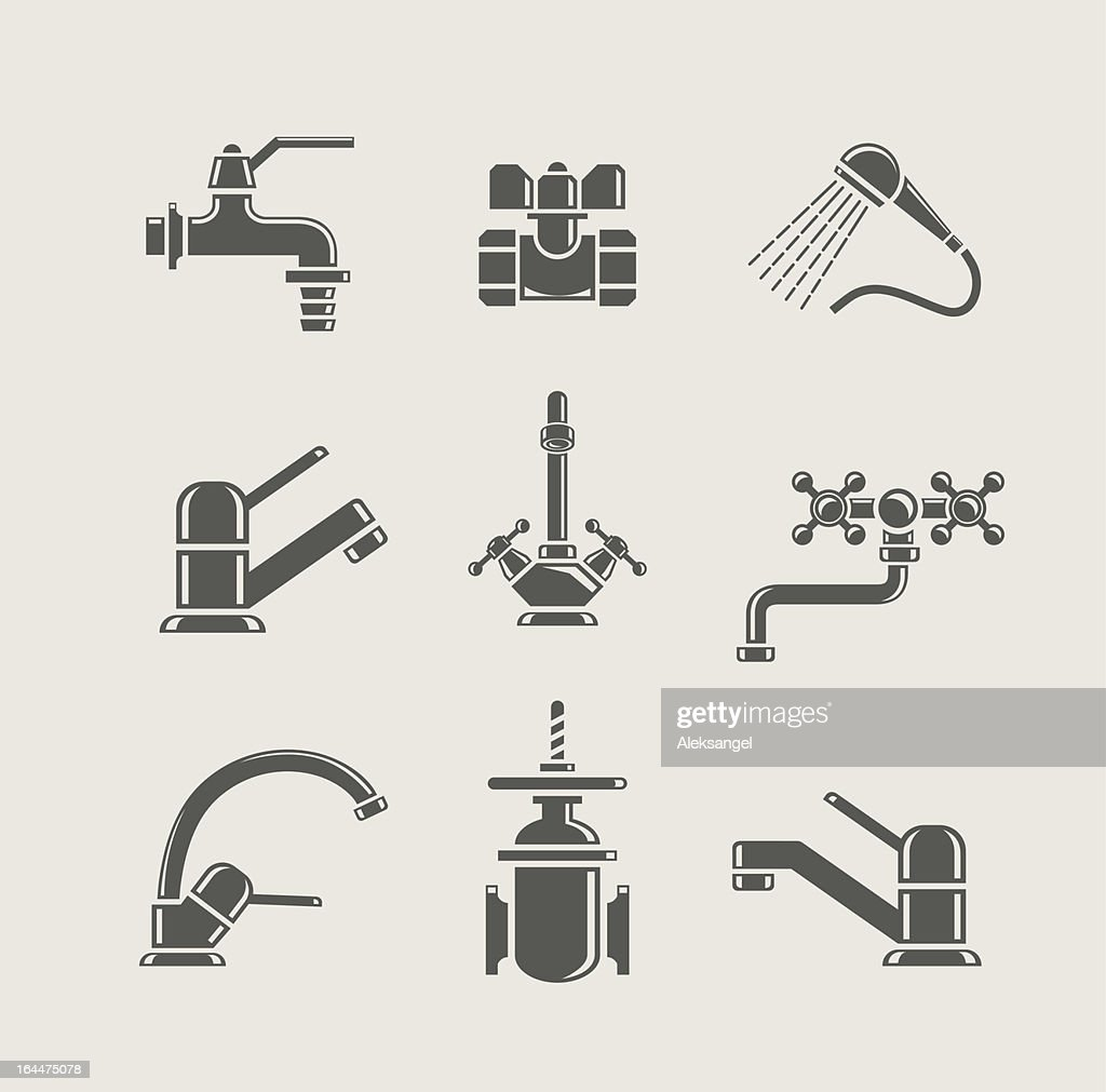 Set of water supply tool icons