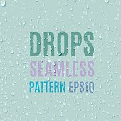 Set of water transparent drops seamless pattern.