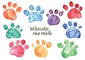 Set of watercolor animal footprints