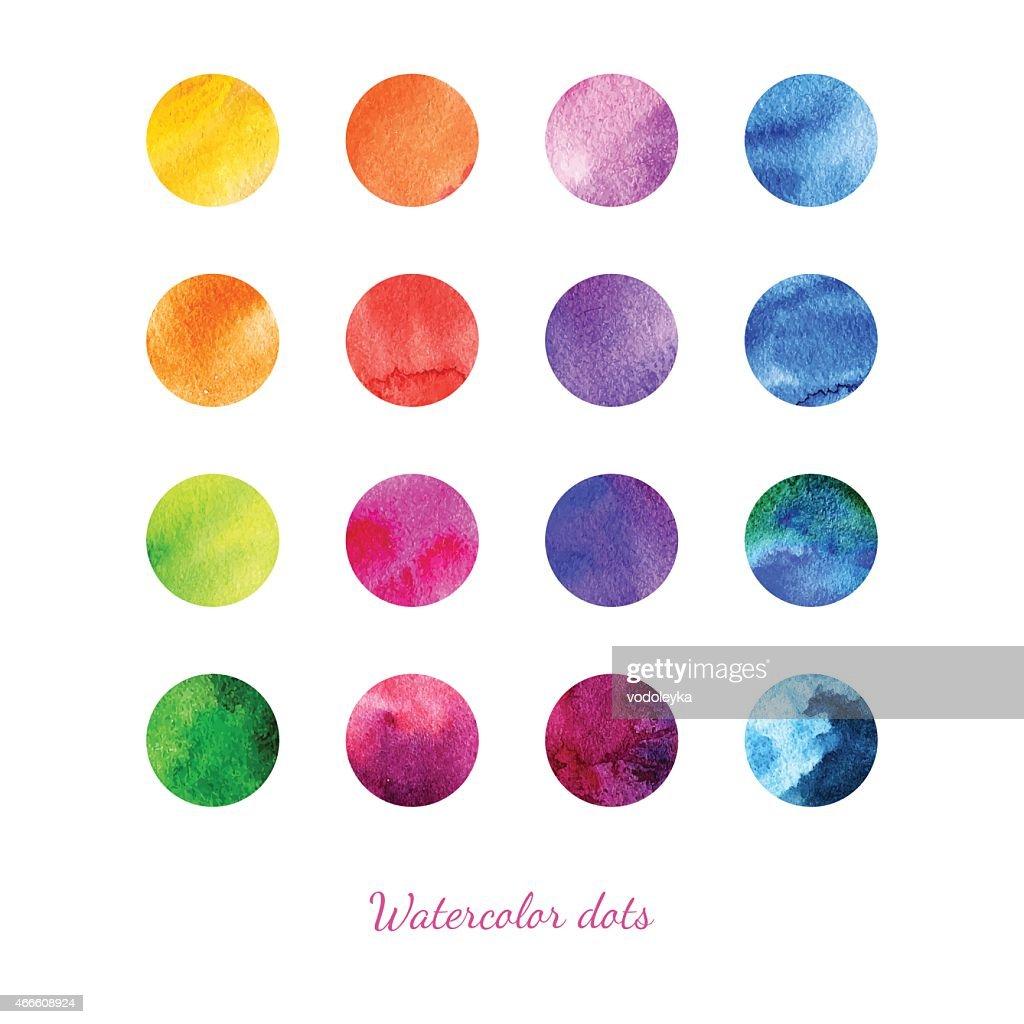 Set of watercolor dots.
