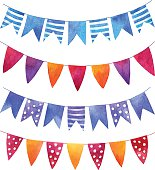 Set of watercolor garlands with flags