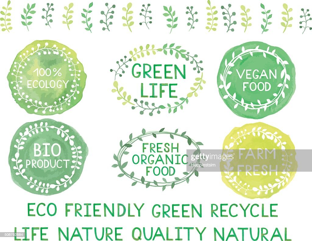 Set of watercolor green logos with lettering, text, words, branc